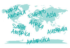 World map with continents, vector Stock Photography