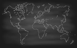 World Map Contour Vector Chalkboard Blackboard. World map contour vector illustration on chalkboard blackboard hand drawn Royalty Free Stock Images