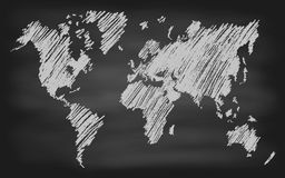 World Map Contour Vector Chalkboard Blackboard Stock Photography