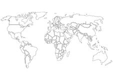 World map contours only Stock Images