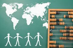 World map. And copy space on a blackboard, abacus Vector Illustration