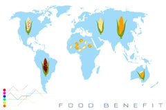 World Map with Corn Production and Consumption Royalty Free Stock Photography