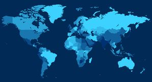 World map with countries on blue background stock illustration