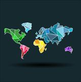 World map-countries colofful on the dark blue background Stock Photo