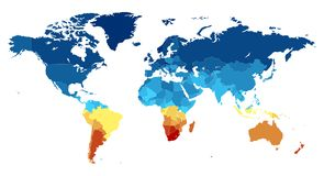 World map with countries in various colors vector illustration