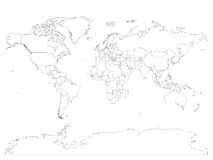World map with country borders, thin black outline on white background. Simple high detail line vector wireframe Stock Photos