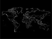 World map with country borders, thin white outline on black background. Simple high detail line vector wireframe Royalty Free Stock Photos
