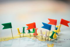 World  map country  flags  marked pin  city pinpoint Royalty Free Stock Photo