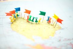 World  map country  flags  marked pin  city pinpoint Stock Photography