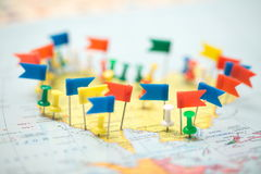 World  map country  flags  marked pin  city pinpoint Royalty Free Stock Photography