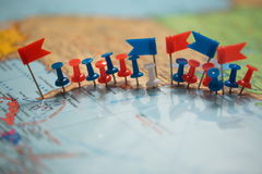 World map country flags marked pin city pinpoint Royalty Free Stock Images
