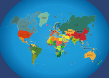 World map with country names. vector illustration