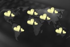 World map covered in loveharts across different countries Royalty Free Stock Images