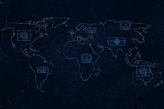 World map covered with presents. Concept of international celebrations or worldwide deliveries Stock Photo