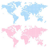 World map created from circles (upper) and squares (lower) Stock Photo