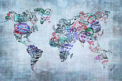 World map created with passport stamps. Travel concept Stock Photo