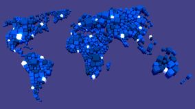 World map of cubes with glowing data nodes Stock Photos