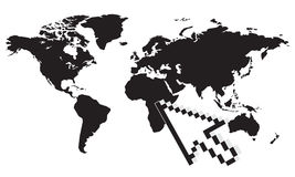 World map and cursor Stock Photography