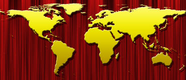 World map on curtain Royalty Free Stock Images