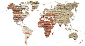 World map cut out in old grunge bricks Stock Images