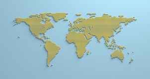 World Map 3D. America Africa Asia Europe Oceania geographical illustration Stock Images