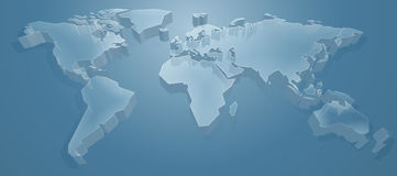 World Map 3D Background. A blue world map 3d  background concept Stock Photography