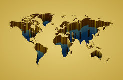 World map with 3d-effect. Vector saved as eps-10, file contains objects with transparency vector illustration