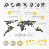 World map 3D with set of infographics elements. Design information, business graph and chart. Vector illustration Royalty Free Stock Photography