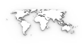 World map 3D white with clipping path. High resolution World map in 3D in white and including a clipping path Royalty Free Stock Photos