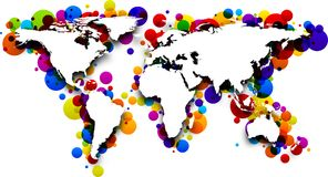 World map. 3d world map with color drops. Vector paper illustration stock illustration