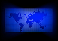 World map with dark blue background Royalty Free Stock Photos