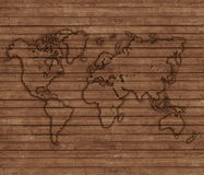 World map depicted on wooden boards Royalty Free Stock Photos