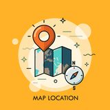 World map, destination point pin and compass Royalty Free Stock Photo