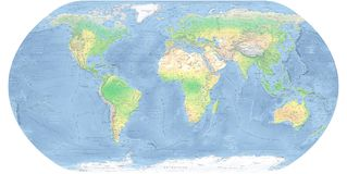 World Map Detailed Physical Map. Detailed Physical World Map with all names of countries, cities and capitals, river, lake, oceans, seas,  islands, South Pole Royalty Free Stock Photography