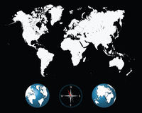 World map. Detailed white world map with compass and globe- illustration Stock Photo