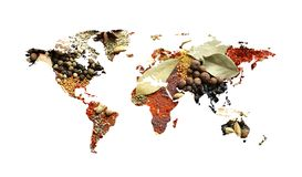 World map of different aromatic spices on white background. Creative collection royalty free stock image