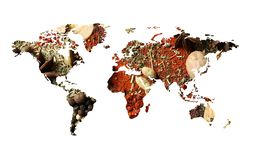 World map of different aromatic spices on white background. Creative collection royalty free stock photo