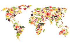 World map from different fresh fruits and vegetables, isolated. On white stock images