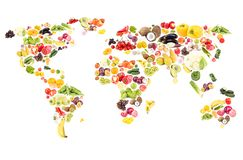 World map from different fresh fruits and vegetables, isolated. On white royalty free stock images