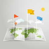 World map with different marks. Illustration Royalty Free Stock Photo
