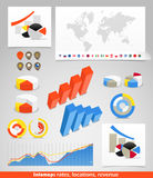 World map with different symbols Royalty Free Stock Photo