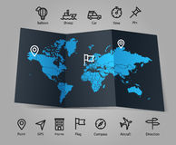 World map and different transportation icons Stock Photos