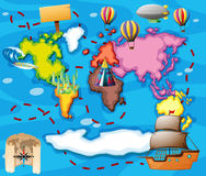 World map with different transportation Royalty Free Stock Photos