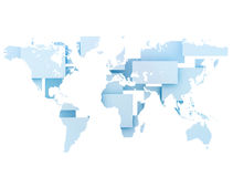 World map digital illustration. On squares Royalty Free Stock Photos