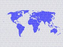 World map on digits as background represent innovation concept and global connection. Technology Background. Concept of travelling around the world. Vector Royalty Free Stock Image
