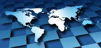 World Map Dimensional Design. With a global modern graphic representing international business and the economy and banking financial system of the globe on a Stock Image