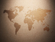 World map displayed on the corrugated old paper Stock Images