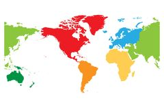 World map divided into six continents. Americas centered. Each continent in different color. Simple flat vector. Illustration Royalty Free Stock Photos