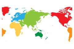 World map divided into six continents. Asia and Australia centered. Each continent in different color. Simple flat. Vector illustration Royalty Free Stock Images