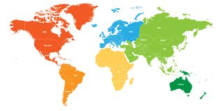World map divided into six continents. Each continent in different color. Simple flat vector illustration.  Stock Photos